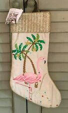 Flamingo Coastal Beach Christmas Stocking