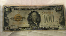 1928 US $100 Gold Seal Certificate  Currency Note