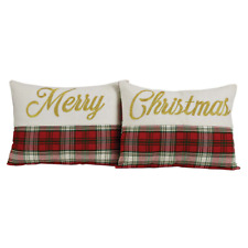 HO HO HO Merry Christmas Toss Pillow Set-Two-Holiday Embroidered Throw Pillows