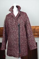 KOOKAÏ Women's Manteau wool linen blend Coat  white red herringbone 38 UK10