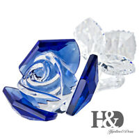 Blue Crystal Flower Rose Figurine Collectible Ornament Centerpiece Mothers Gift