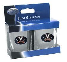 NCAA Official Virginia Cavaliers Football Shot Glass 2 Pack Set Metal Emblem New