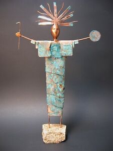 Sculpture Original Southwestern Bronze Modern Art Native American Shaman Copper
