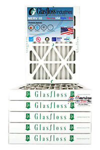 Glasfloss 14x30x2 - MERV 10 - (Qty:6) - Pleated  Air Furnace Filter Made in USA