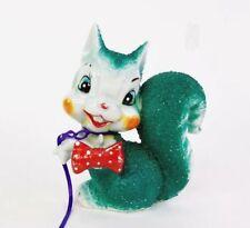 Vintage Arnart Spaghetti Texture Ceramic Green Squirrel Red Bow Tie Japan Cute!