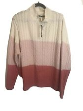 Marks And Spencers Cowl Neck Cream Pink Chunky Cable Knit  XL