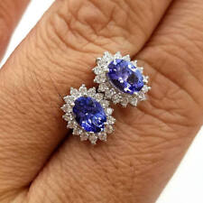 Oval Tanzanite 925 Sterling Silver Stud Earrings In 14K White Gold Plating