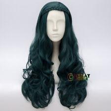 Evie Descendants 2 Long Dark Green Curly Party Halloween Anime Cosplay Wig + Cap
