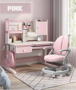 Pink Kids Ergonomic Desk and Chair Set Height Adjust Children Study Table Blue