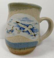 Otagiri Seagull Handpainted Pottery Coffee Mug Tea Cup Vintgage Beach Colors