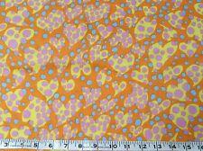 Psychedelic retro hearts orange1960's vintage cotton sold by the half metre