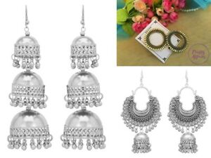Combo of 3 Pairs Oxidised Silver Gold Earrings Jewelry Bollywood Ethnic New