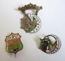 Antique Lot 3 Daughters of Rebekah Medal Pins Gold & Enamel Odd Fellows