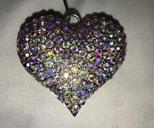 AB Crystal Rhinestone 3D Heart Pendant Clip