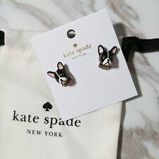 NWT KATE SPADE Ma Cherie Antoine French Bull Dog Stud Earrings Dust Bag O0RU2545