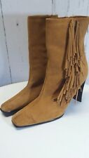 Women's Predictions Leather Collection Ankle Boots Suede Fringe Size 11