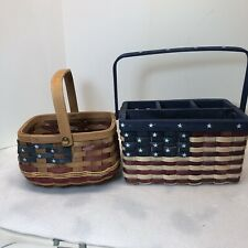 New ListingPatriotic American Flag Woven Wooden Baskets Set Of Two