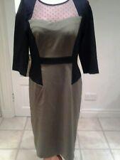 SAVOIR BLACK & OLIVE COLOUR BLOCK PENCIL DRESS WITH NETTED SPOTTY PANEL SZ 10