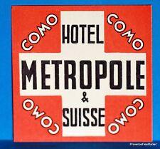 Hotel METROPOLE  COMO   SUISSE  Original  luggage label  BD88