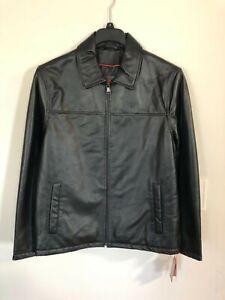 Brand New w/ Tags Men's Medium Izod Black Leather Jacket/Coat