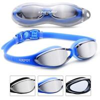 Swimming Goggles Anti Fog Crystal Clear Vision  UV Protection No Leaking Blue A