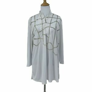Jamie Sadock Golf Jersey Shirt Women's Size XL 1/4 Zip Long Sleeve Geometric Top