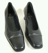 K Shoes Softees black leather mid heel wider fitting shoes uk 5