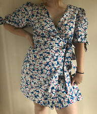 Brand New Zara Large Blue White Floral Puff Sleeves Girly 1980s Tea Races Dress