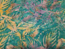 Fabric for Sewing Crafts Quilt Mask SCRAP 9x21 Aqua Purple Leaf BATIK Cotton