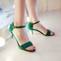 Womens Trendy Buckle Strap Open Toe High Heel Patent Suede Date Sandal Shoes New