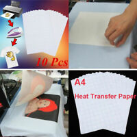 10 Sheets A4 Sublimation Iron On Paper Transfer Inkjet Print T-shirt Heat Press