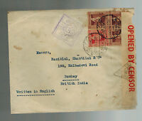 1940 Alexandria Egypt Censored  Cover to Bombay India