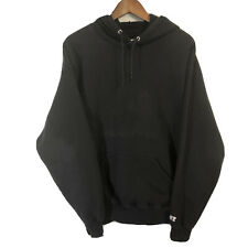 Men's Vtg Distressed Russell Athletic Blank Black Hoodie Sweatshirt Size Large