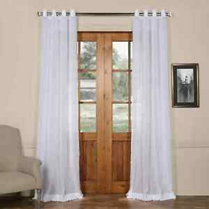 Grommet Faux Linen Sheer Curtain (Sold Per Panel)