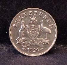 1928 (m) Australia silver 3 pence, Melbourne mint, George V, KM-24