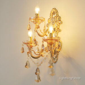 Golden Teak Crystal Glass 3 Candle Lights Gold Metal Porch Wall Lights Fixtures