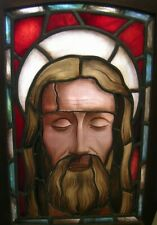 Antique Church glass stained window Jesus