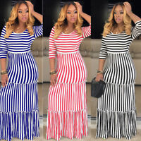 Spring&Summer Women Half Sleeves Stripes Casual Cocktail Party Long Dress Club