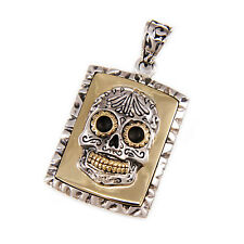 Silver Day Of The Dead Pendant gb-100 Mexican Sugar Skull Dog Tag 925 Sterling