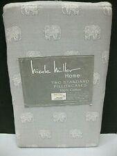 2pc NICOLE MILLER Gray Moroccan Elephant Pillowcases Standard Cotton NEW