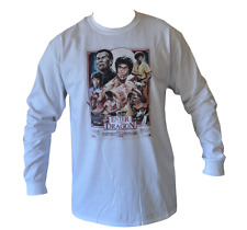 T SHIRT LONG SLEEVE ENTER THE DRAGON BRUCE LEE MENS WHITE ALL SIZES S TO 3XL