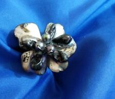 """1 1/4"""" handcrafted real peacock Pearl silver tone ring size 6 adjustable"""