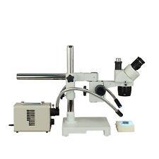 Trinocular Stereo 20X-40X Single Boom Stand Microscope+20W Led Dual Fiber Light