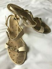 Cream and animal print party sandals size 6 with diamante bow detail