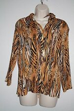 Essentials by Milano Tiger animal print long sleeve top size XL