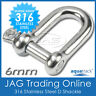 6mm 316 STAINLESS STEEL STANDARD DEE D-SHACKLE M6-Marine/Boat/Sailing/Shade/Sail