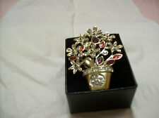 Flower Pot Pink & Clear Glass Rhinestone Vintage Brooch Gold Tone