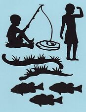 Cricut 7 pc. Silhouette Boy Fishing Die Cut Set - Fishing - Sports Die Cuts