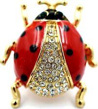 Red Clear Ladybug Strectch RIng Crystal Rhinestine Animal Fashion Jewelry RA26