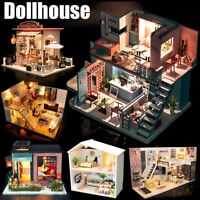 Mini DIY LED Wooden Dollhouse Miniature Wooden Furniture Kit Doll House New